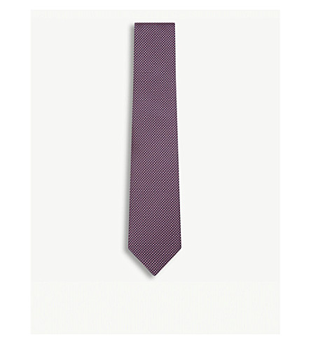 ETON Geometric-pattern silk tie (Pink/red