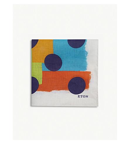 ETON Polka dot and square print linen pocket square (Purple