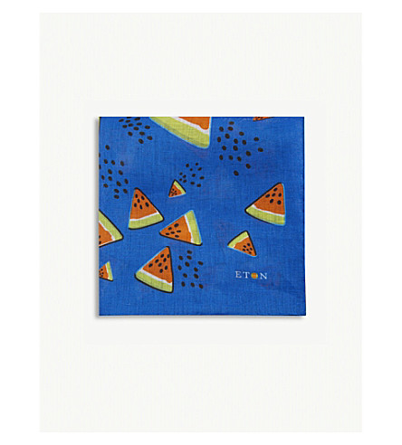 ETON Watermelon linen pocket square (Blue
