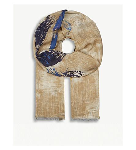 ETON Painted circle wool-blend scarf (Offwhite/brown