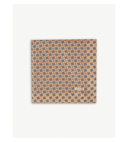 ETON Square-tile silk pocket square (Offwhite/brown