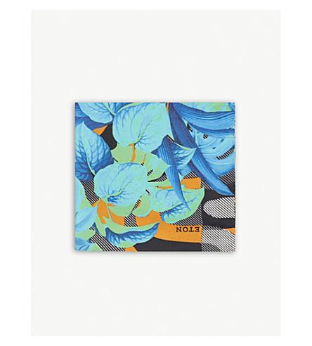 ETON Neon floral silk pocket square (Yellow/orange