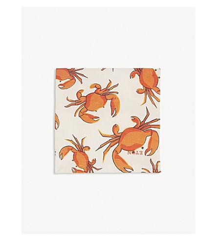 ETON Crab-print linen and silk pocket square (Pink/red
