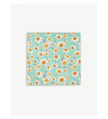 ETON Floral-print silk pocket square (Green