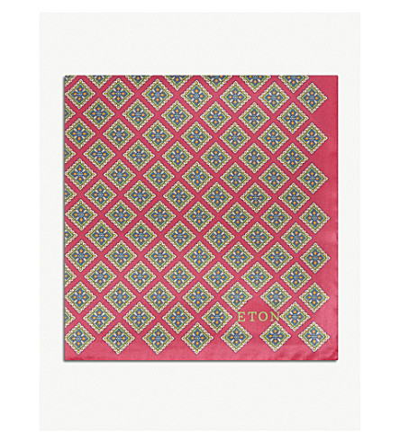ETON Geometric print silk pocket square (Pink/red