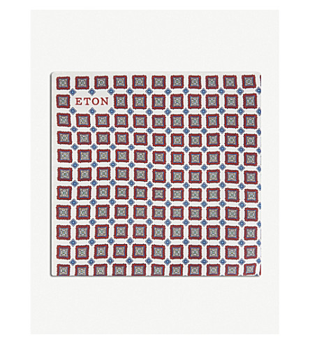 ETON Geometric print silk pocket square (Pink/red