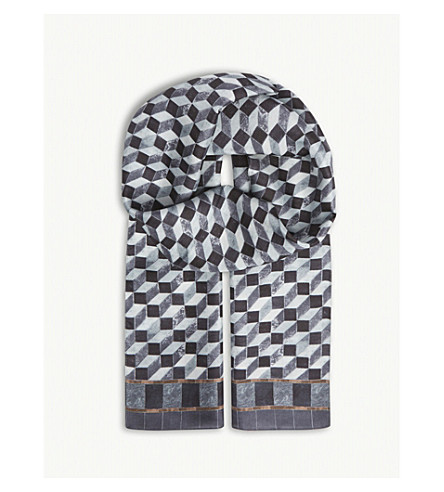 ETON Geometric print silk scarf (Grey