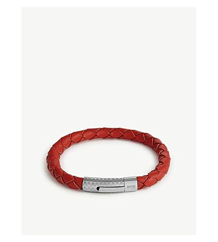 ETON Braided leather bracelet (Pink/red
