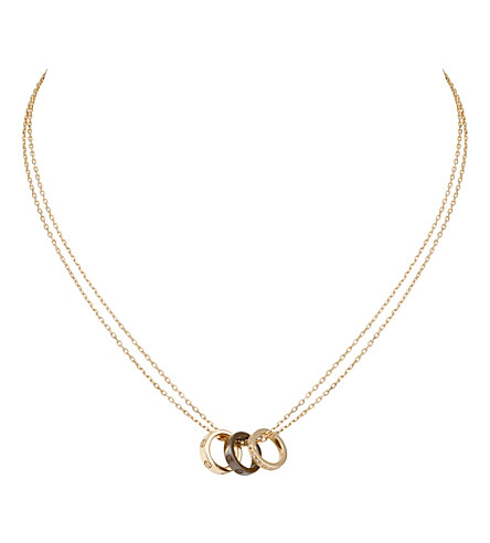 CARTIER Love three-hoop 18ct pink-gold and diamond necklace