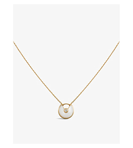 CARTIER Amulette de Cartier 18ct yellow-gold, mother-of-pearl and diamond necklace