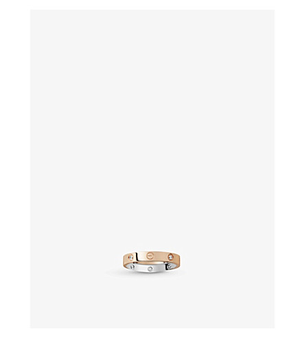 CARTIER LOVE 18ct pink-gold, white-gold and diamond ring