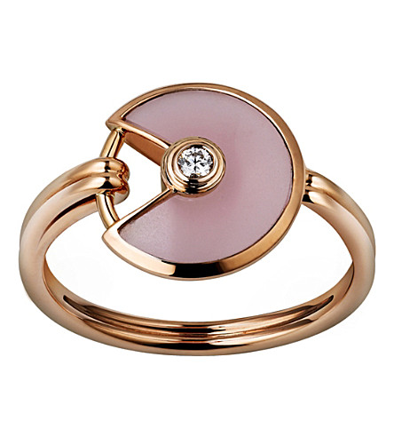 CARTIER Amulette de Cartier 18ct pink-gold, pink opal and diamond ring