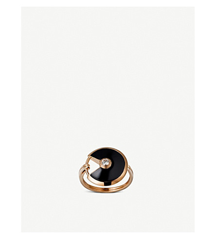 CARTIER Amulette de Cartier 18ct pink-gold , onyx and diamond ring