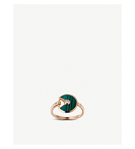 CARTIER Amulette de Cartier 18ct pink-gold, malachite and diamond ring