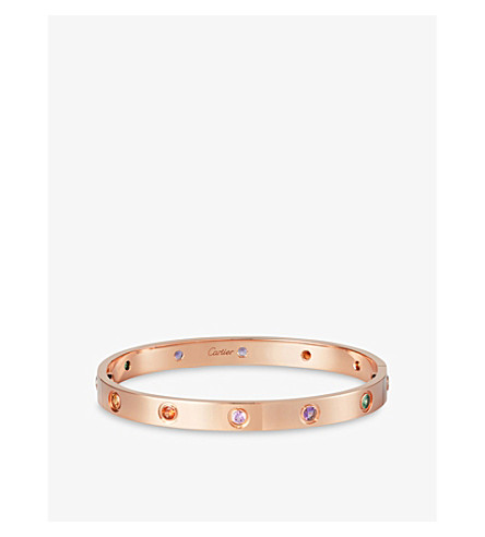 CARTIER LOVE 18ct pink-gold, sapphire, garnet and amethyst bracelet