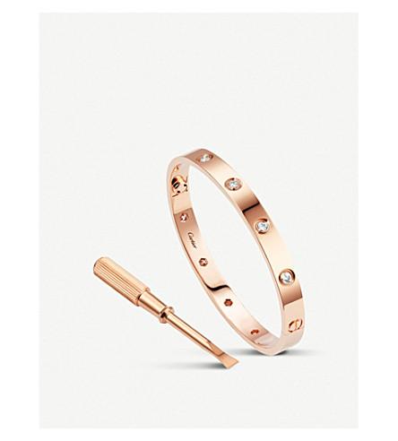 CARTIER 爱 18 ct 粉色黄金和钻石手镯