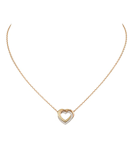 CARTIER Trinity Heart 18ct three-gold diamond necklace
