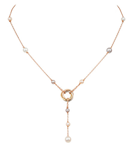 CARTIER Trinity 18ct pink-gold and pearl necklace