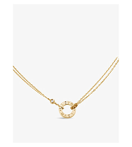 CARTIER 爱18ct 黄色金子和钻石项链
