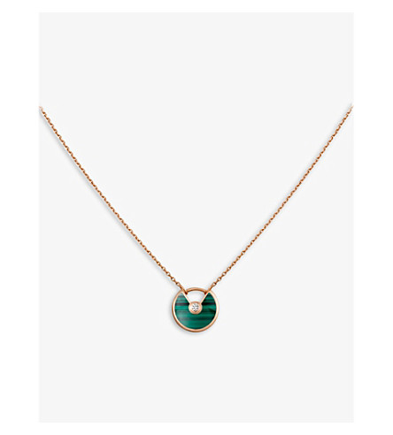 CARTIER Amulette de Cartier 18ct pink-gold, malachite and diamond necklace