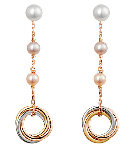 CARTIER Trinity 18ct pink-gold and pearl earrings