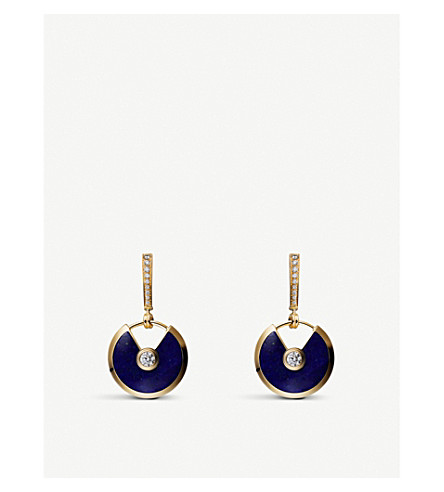 CARTIER Amulette de Cartier 18ct yellow-gold, lapis-lazuli and diamond earrings