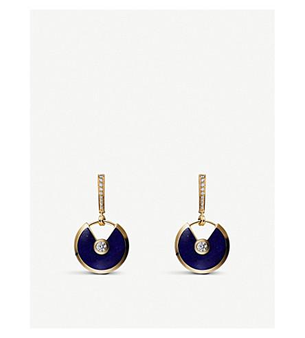 CARTIER Amulette 德 Cartier 18ct 黄金、青金石、金刚石耳环
