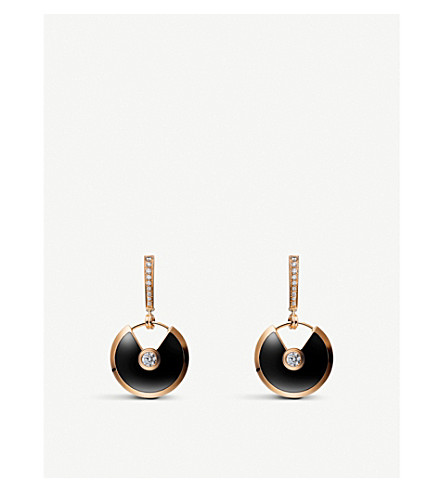 CARTIER Amulette de Cartier 18ct pink gold, onyx and diamond earrings
