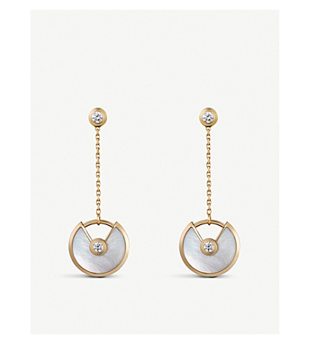 CARTIER Amulette de Cartier 18ct 黄金色, 白色珍珠母和钻石耳环