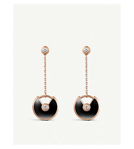 CARTIER Amulette de Cartier 18ct pink-gold, onyx and diamond earrings