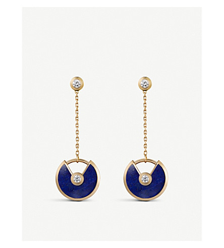 CARTIER Amulette de Cartier 18ct yellow-gold, lapis lazuli and diamond earrings