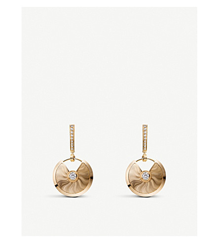 CARTIER Amulette de Cartier 18ct 黄金钻石耳环
