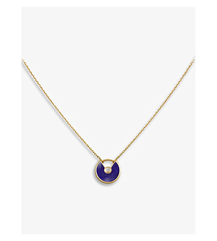 CARTIER Amulette de Cartier 18ct yellow-gold , lapis lazuli and diamond necklace
