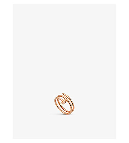 CARTIER Juste un Clou 18ct pink-gold and diamond double ring