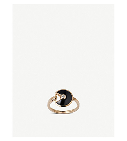 CARTIER Amulette de Cartier 18ct pink-gold, onyx and diamond ring
