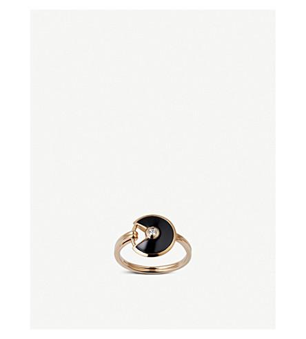 CARTIER Amulette de Cartier 18ct pink-gold, onyx and diamond ring