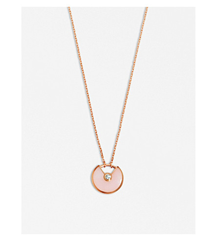 CARTIER Amulette de Cartier 18ct pink gold, pink opal and diamond necklace