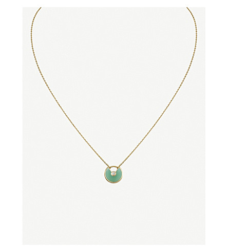 CARTIER Amulette 德 Cartier 18ct 黄色金色, 绿玉髓和钻石项链
