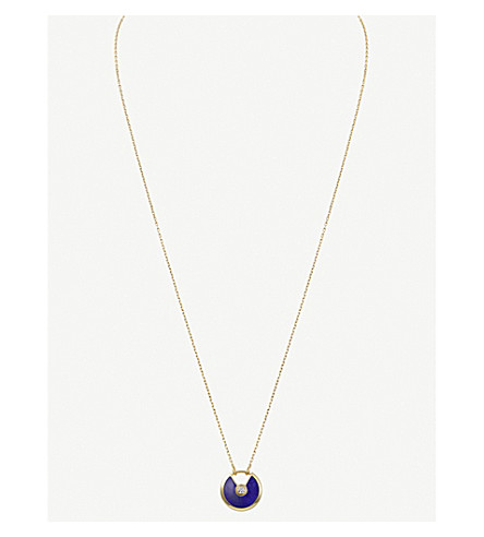CARTIER Amulette de Cartier 18ct yellow-gold, lapis lazuli and diamond necklace
