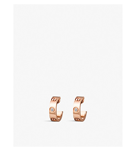 CARTIER Love 18ct pink-gold and diamond earrings