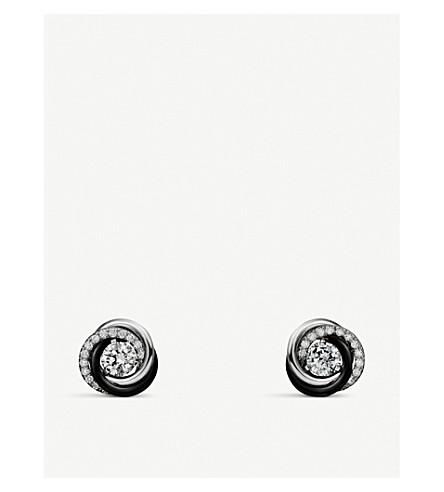 CARTIER 三位一体德 Cartier 18ct 白金钻石耳环