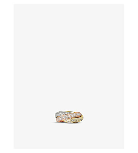CARTIER Trinity de Cartier 18ct white, pink and yellow-gold diamond ring