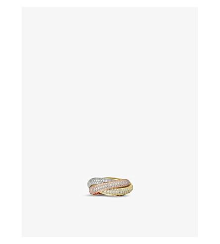 CARTIER 三位一体 de Cartier 18ct 白色, 粉红色和黄色金钻石戒指
