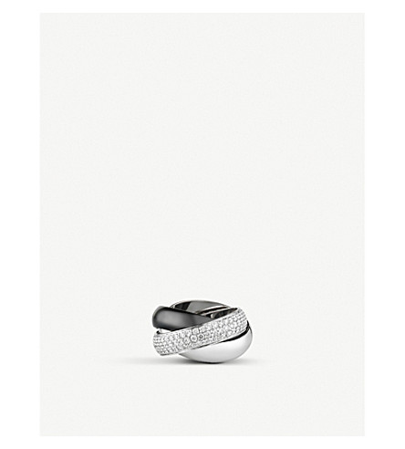 CARTIER Trinity de Cartier 18ct white-gold, diamond pave and ceramic ring