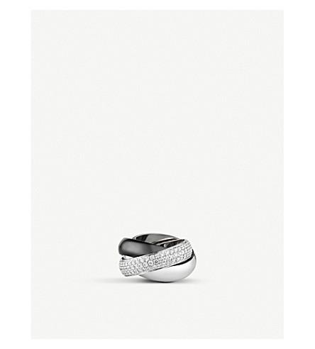 CARTIER 三位一体 de Cartier 18ct 白金、金刚石铺路和陶瓷圆环