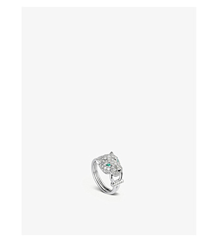 CARTIER Panthère de Cartier 18ct white-gold, diamond, onyx and emerald ring