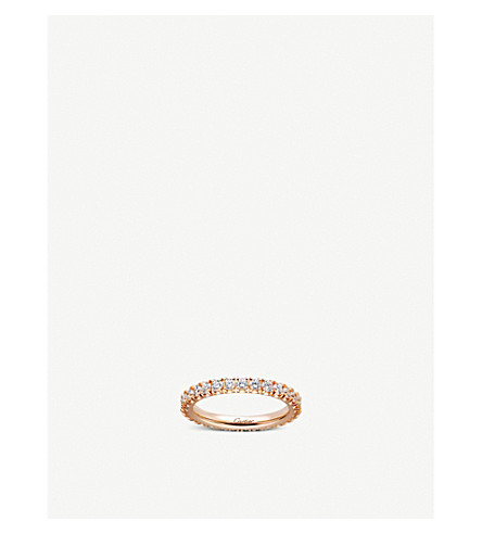 CARTIER Lignes 18ct pink-gold and diamond wedding band