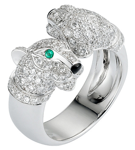 CARTIER Panthère 18ct white-gold, diamond, onyx and emerald ring