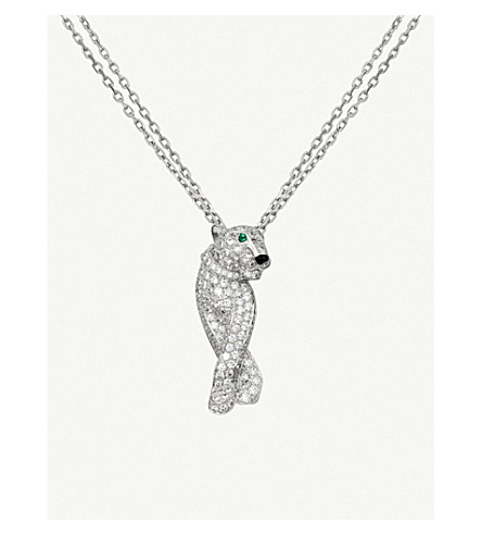 CARTIER Panthère de Cartier 18ct white-gold, diamond, onyx and emerald necklace