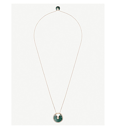 CARTIER Amulette de Cartier 18ct pink-gold malachite and diamond necklace
